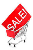 signboard with the word sale in a shopping cart