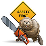 Beaver with a chainsaw