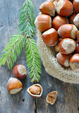 Organic Whole Hazelnuts in a sack