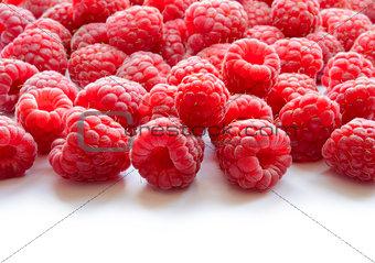 Beautiful Red Summer Background of Juicy Raspberries