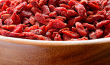 Wooden Bowl Full of Dried Goji Berries