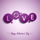 Valentines card with purple circles background
