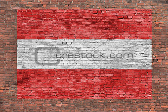Flag of Austria painted over brick wall