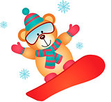 Teddy bear on a snowboard