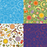 Colorful cheerful pattern with mushrooms