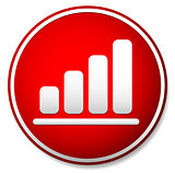 Simple bar chart, bar graph icon in red