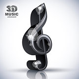 Treble clef 3d black music design element.