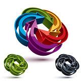 Looping arrows vector abstract symbol, conceptual special made 3
