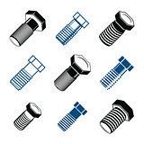 Repair instruments collection, 3d tools – screws. Construction