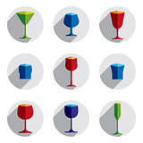 Colorful drinking glasses collection. Set of alcohol theme simpl