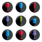 Decorative drinking glasses collection. Set of celebration goble