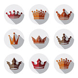 Set of 3d golden royal crowns isolated. Majestic classic symbols
