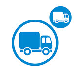 Delivery car small truck vector simple single color icon isolate