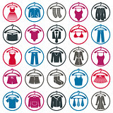 Clothing symbols, isolated vector clothing.
