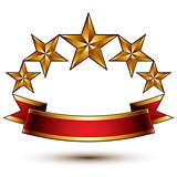 Royal golden symbolic five stylized glossy stars with red curvy
