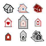 Simple cottages collection, real estate and construction theme.