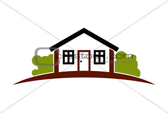 Abstract simple house with horizon line. Best for use in graphic