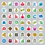 Money icons vector set, finance theme simplistic symbols vector
