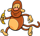 monkey with banana cartoon illustration