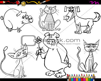 animals set cartoon coloring page