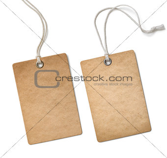 old paper cloth tag or label set isolated