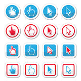 Hand and arrow cursor vector icons set