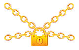 Gold lock in chain