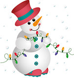 Snowman with Christmas Lights