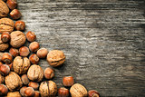 Nuts hazelnuts and walnuts