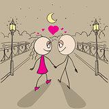 Couple love walking light of lanterns in park