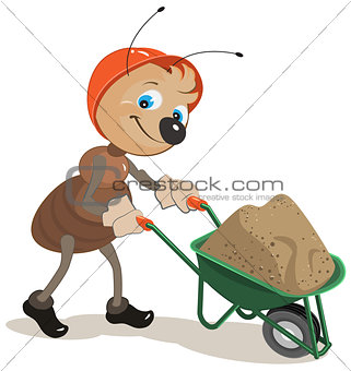 Ant carries a cart with sand