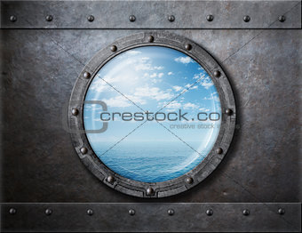 old ship rusty porthole or window with sea and horizon behind