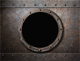 submarine armoured porthole or window metal background