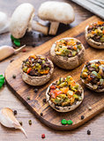 Portobello mushrooms stuffed with vegetables