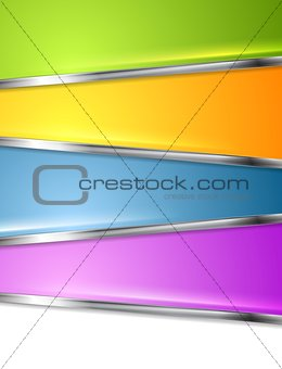 Bright infographics background with metal stripes