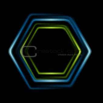 Bright abstract hexagon logo background