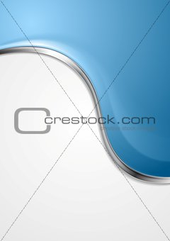 Blue abstract background with metal wave