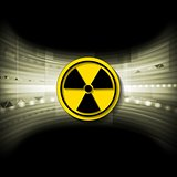 Tech background with radioactive symbol