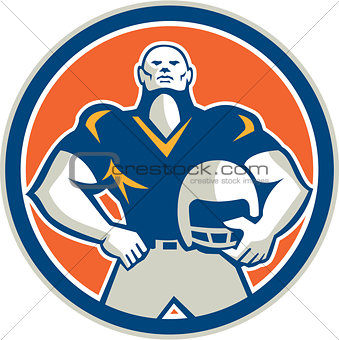 American Football With Helmet Circle Retro