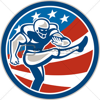 American Football Placekicker Circle Retro