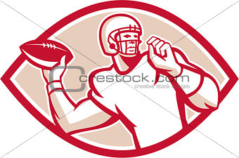 American Football QB Throwing Oval Retro
