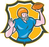 American Football QB Throwing Shield Retro