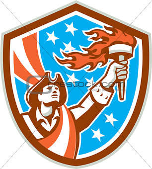 American Patriot Holding Torch Flag Shield Retro