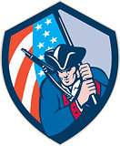 American Patriot Holding Brandish Flag Shield Retro