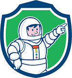 Astronaut Pointing Front Shield Cartoon