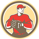Baseball Catcher Gloves Circle Retro