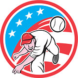 Baseball Pitcher Outfielder Throwing Ball Circle Cartoon