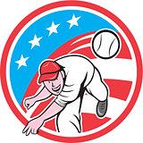 Baseball Pitcher Outfielder Throwing Ball Circle Cartoon