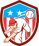 Baseball Pitcher Outfielder Throwing Ball Shield Cartoon