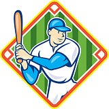 American Baseball Player Batting Diamond Cartoon